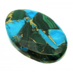 Oval 35x22mm Mohave Turquoise with Malachite Cabochon 03