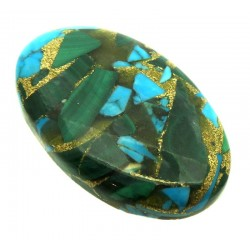 Oval 34x21mm Mohave Turquoise with Malachite Cabochon 09