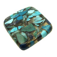 Square 26x26mm Mohave Turquoise with Shattuckite Cabochon 05