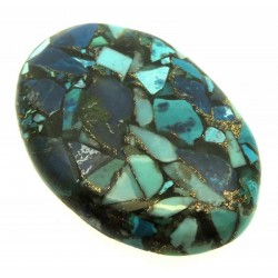 Oval 40x27mm Mohave Turquoise with Shattuckite Cabochon 17